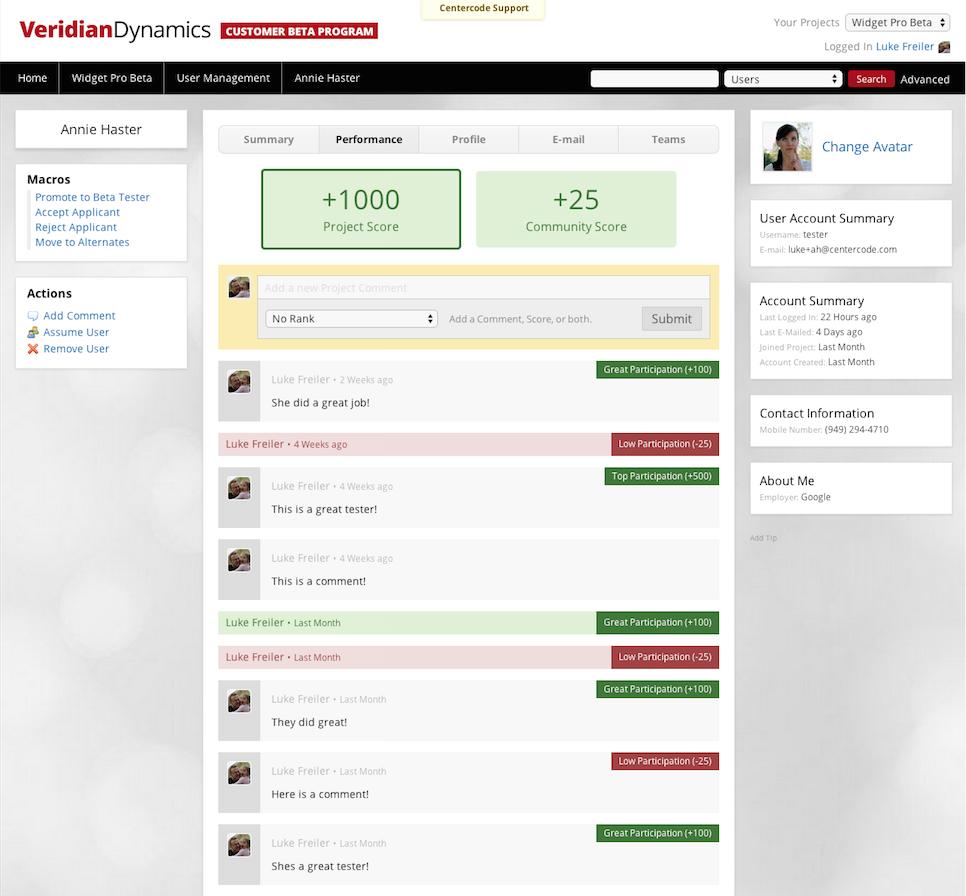 Scoring Testers screenshot
